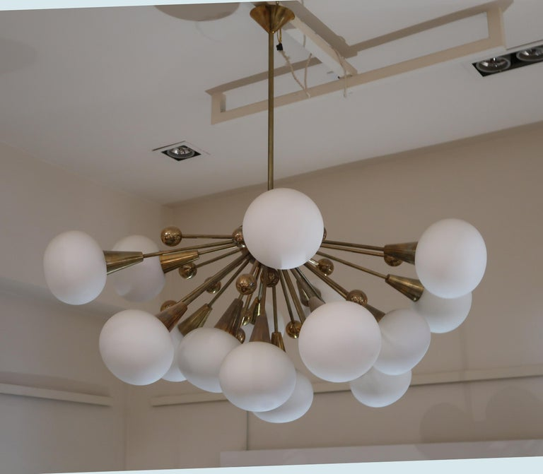 Late 20th Century Brass and Opaline Glass Midcentury Italian Ceiling Lamp, 1970 For Sale