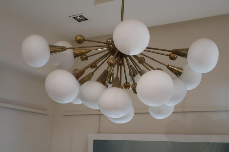 Brass and Opaline Glass Midcentury Italian Ceiling Lamp, 1970 For Sale 1