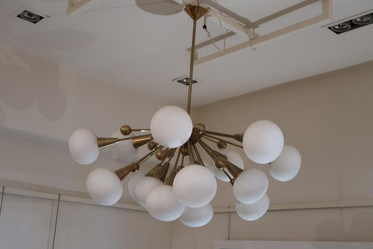 Brass and Opaline Glass Midcentury Italian Ceiling Lamp, 1970 For Sale 2