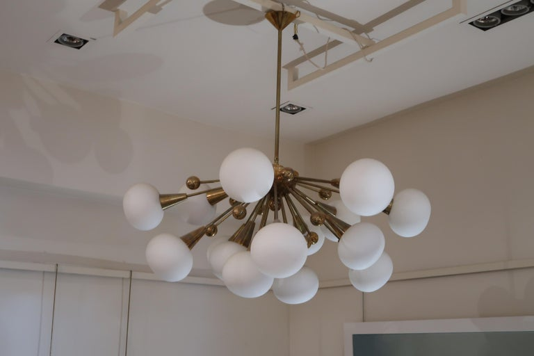 Brass and Opaline Glass Midcentury Italian Ceiling Lamp, 1970 For Sale 3