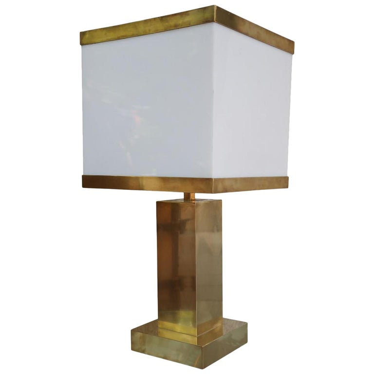 Brass and Resin Shade Midcentury Italian Table Lamp, 1970 For Sale