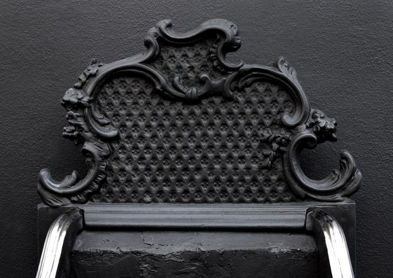 18th Century and Earlier Brass and Steel Rococo Firegrate For Sale