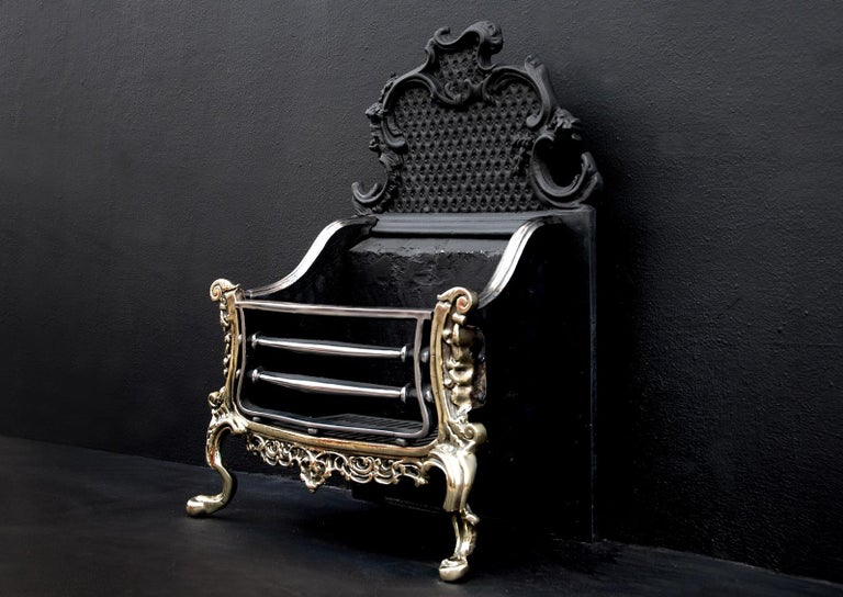 Brass and Steel Rococo Firegrate For Sale 1