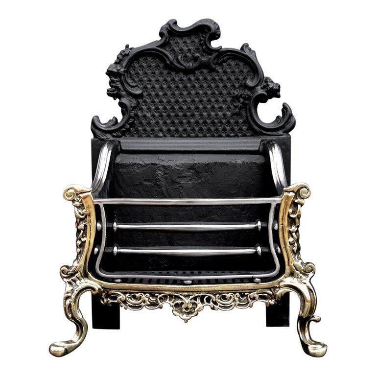 Brass and Steel Rococo Firegrate For Sale