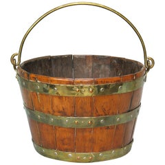 Brass Bound Oak Coppered Bucket, 19th Century
