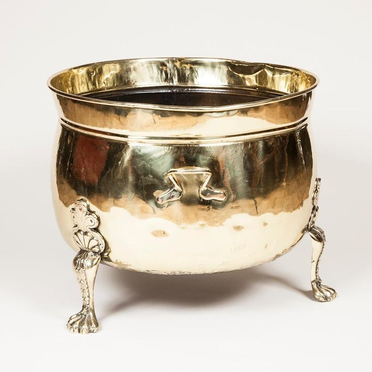 English Brass Planter or Log Bin with Paw Feet For Sale