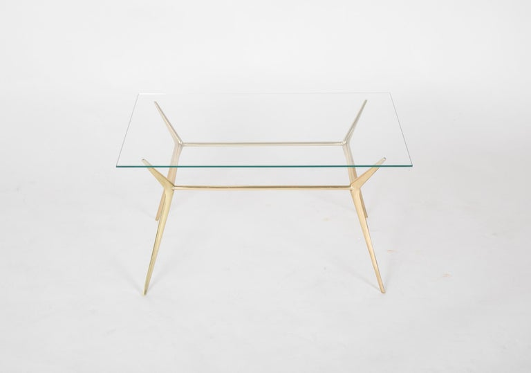 Mid-Century Modern Brass Side or Coffee Table by Gino Sarffati For Sale
