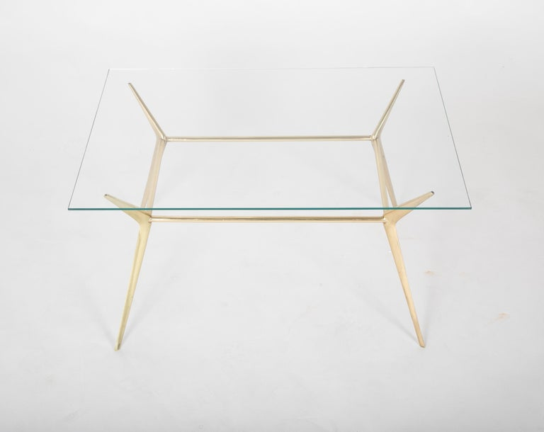 Brass Side or Coffee Table by Gino Sarffati In Good Condition For Sale In Stamford, CT