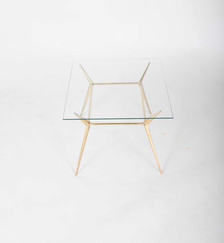 Mid-20th Century Brass Side or Coffee Table by Gino Sarffati For Sale