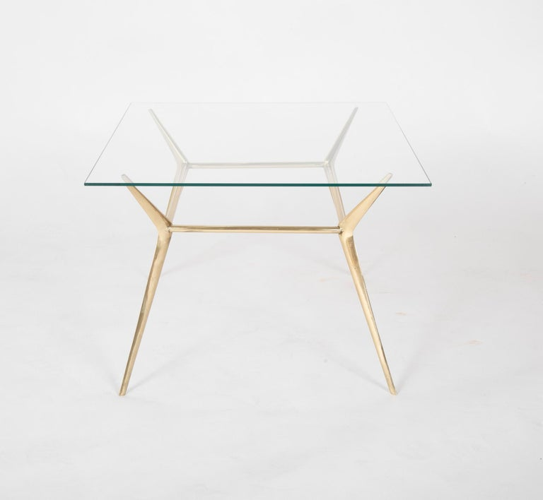 Brass Side or Coffee Table by Gino Sarffati For Sale 1