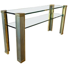 Brass Two-Tiered Console Table by Peter Ghyczy