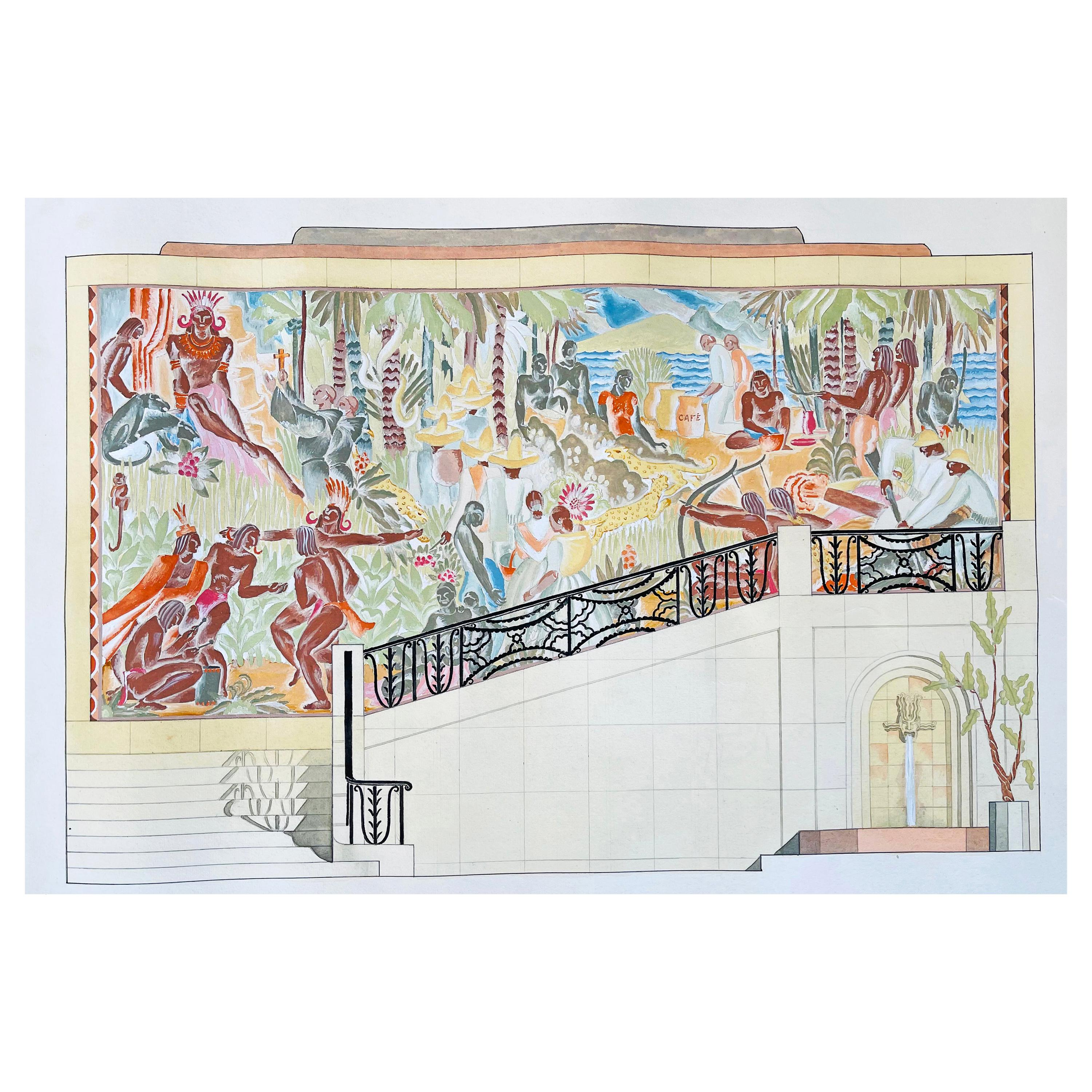 """""""A Brazilian Embassy,"""" Colorful Art Deco Mural Study by Briggs at Cornell, 1938"""