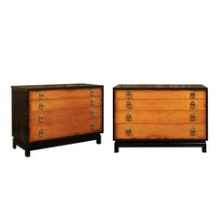Breathtaking Pair of Chests by Renzo Rutili in Cerused Oak and Birdseye Maple