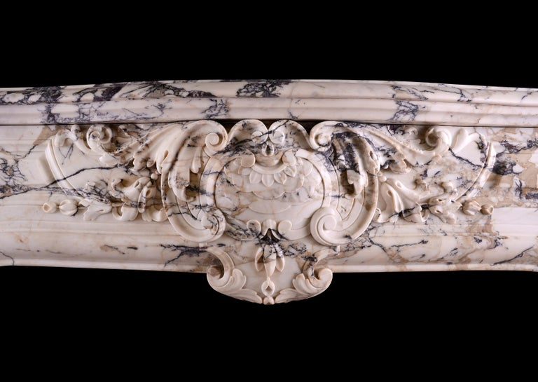 18th Century and Earlier Breccia Louis XIV/XV Transitional Fireplace For Sale