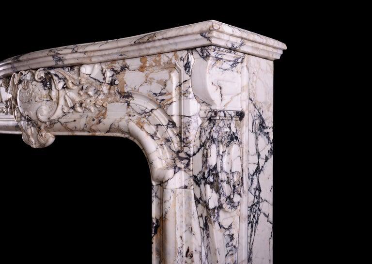 Breccia Marble Breccia Louis XIV/XV Transitional Fireplace For Sale