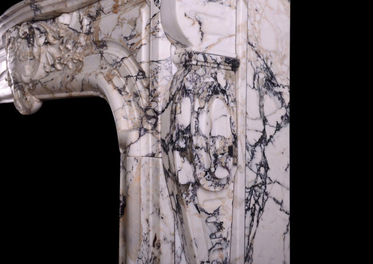 Breccia Louis XIV/XV Transitional Fireplace For Sale 1