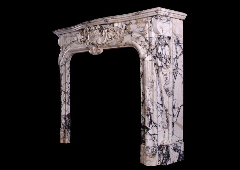 Breccia Louis XIV/XV Transitional Fireplace For Sale 3