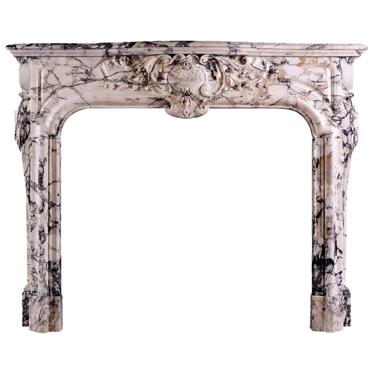 Breccia Louis XIV/XV Transitional Fireplace For Sale
