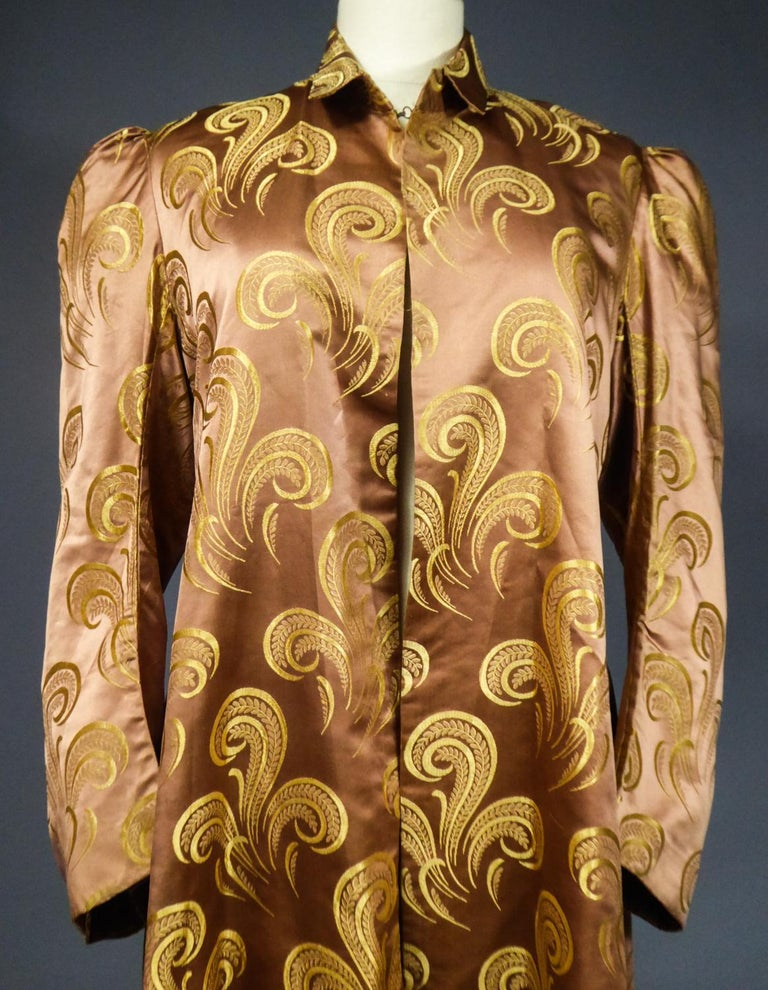 Women's A Brocaded Satin Silk Evening Jacket Circa 1930/1950 For Sale