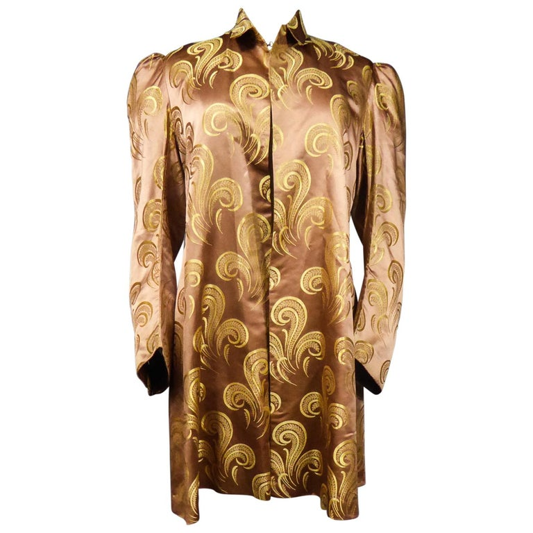 A Brocaded Satin Silk Evening Jacket Circa 1930/1950 For Sale