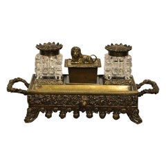 Bronze and Glass Early Victorian Period Desk Set