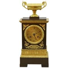 Bronze and Ormolu Clock, 19th Century, French, Silk Suspension Striking