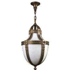 Cast Bronze Neoclassical Pendant Lantern with White Glass, Circa 1900