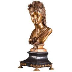 A rare monumental ( 82 cm) , Bronze Bust by Eugene-Antoine Aizelin,