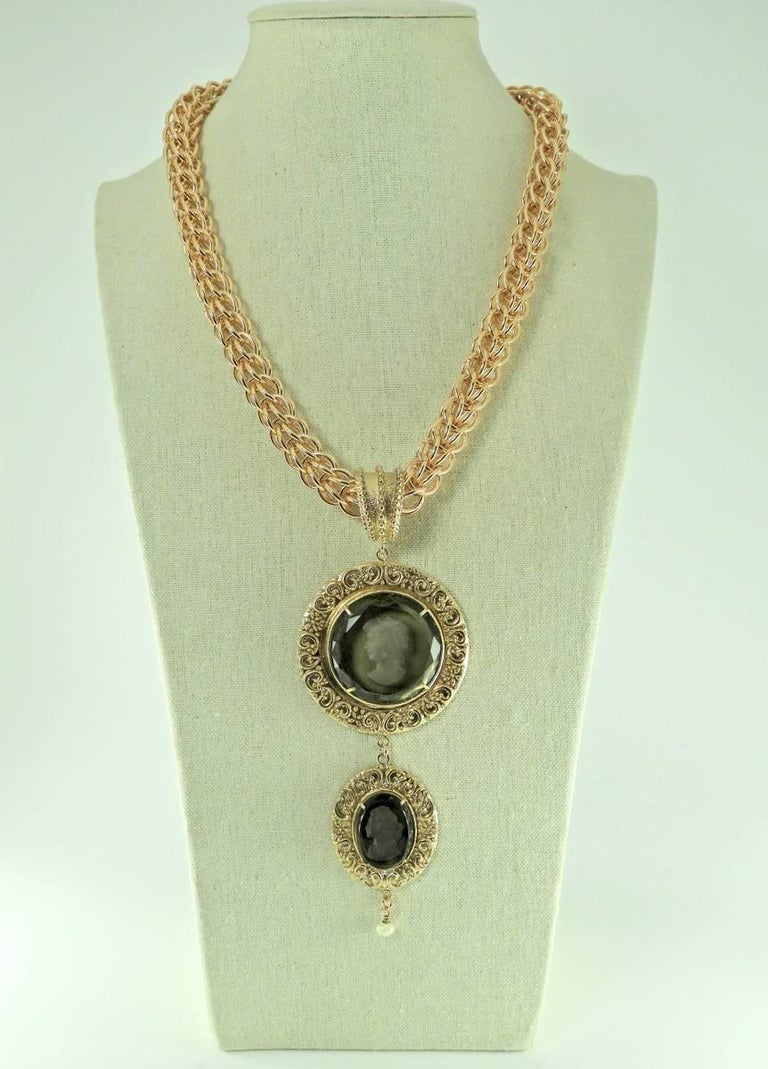 Women's A Bronze Chain with a Murano Glass and pearl double pendant  by Patrizia Daliana For Sale