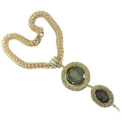 A Bronze Chain with a Murano Glass and pearl double pendant  by Patrizia Daliana