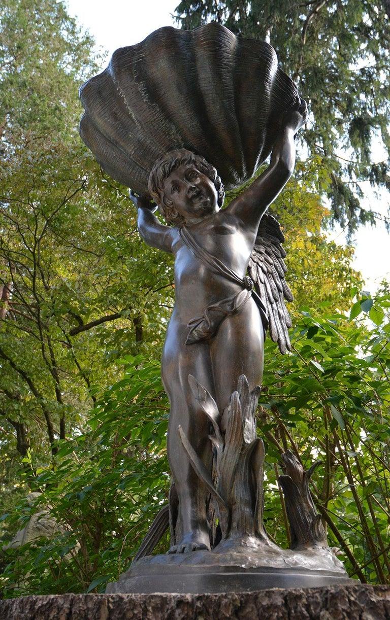 Neoclassical Bronze Cherub Fountain Holding a Shell For Sale