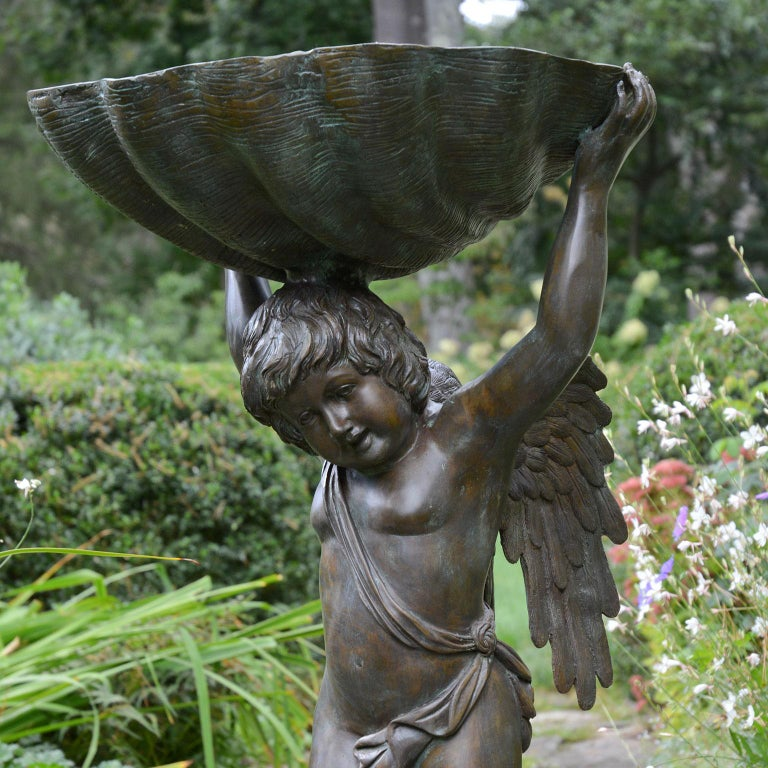 English Bronze Cherub Fountain Holding a Shell For Sale