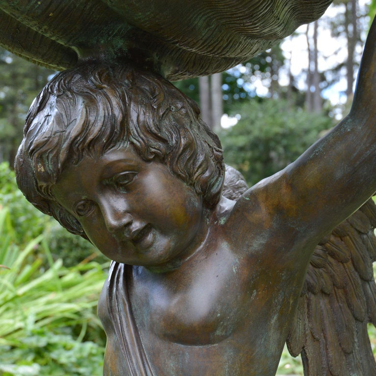 Bronze Cherub Fountain Holding a Shell In Good Condition For Sale In Katonah, NY