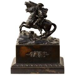 Bronze Equestrian Figure of Napoleon I, Annibal Signed Carolus Magnus
