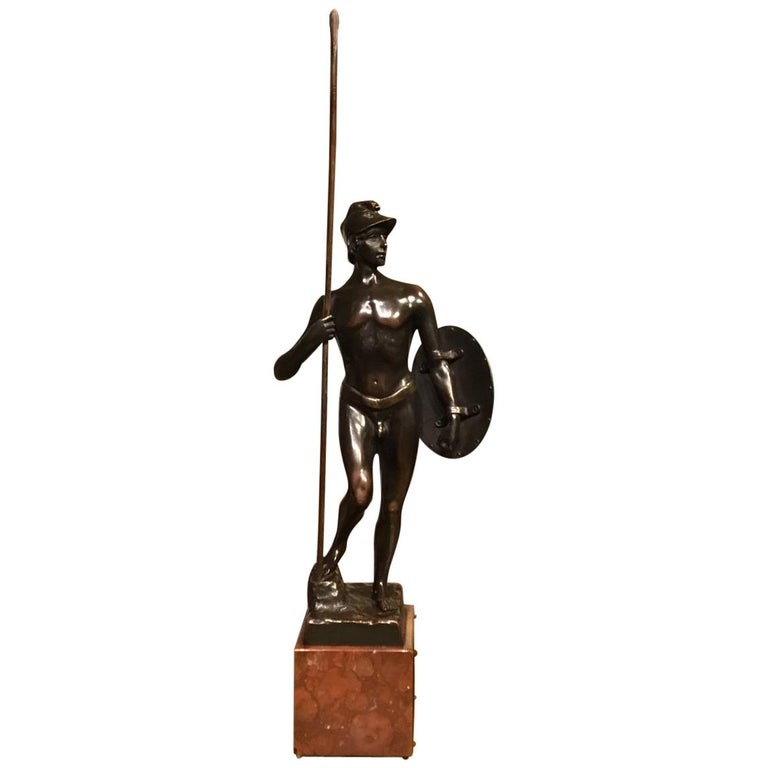 Modern Art bronze sculpture - Nude Male Wrestling - signed