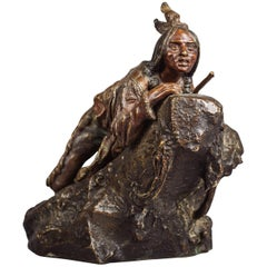 Bronze Figure of a Native American Scout with Rifle by Carl Kauba, circa 1910