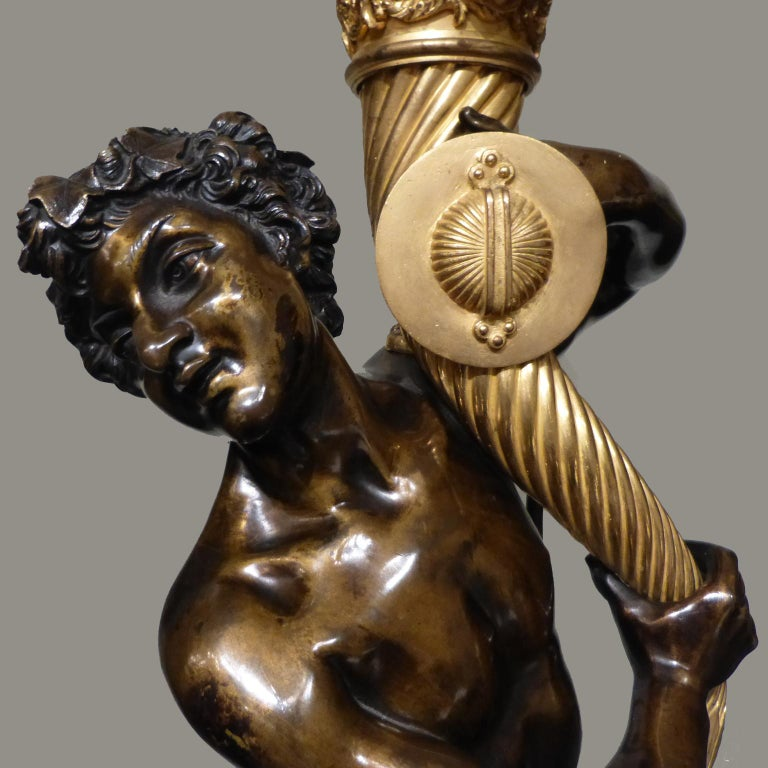 French Bronze Floor Standing Candelabrum after a Model by Clodion, circa 1880 For Sale
