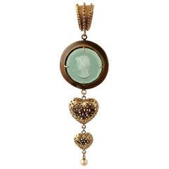 A Bronze Pendant with Murano Glass, Hearts and Pearl by Patrizia Daliana