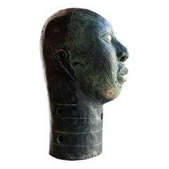 Bronze Verdigris Benin Bust, Mid-Century