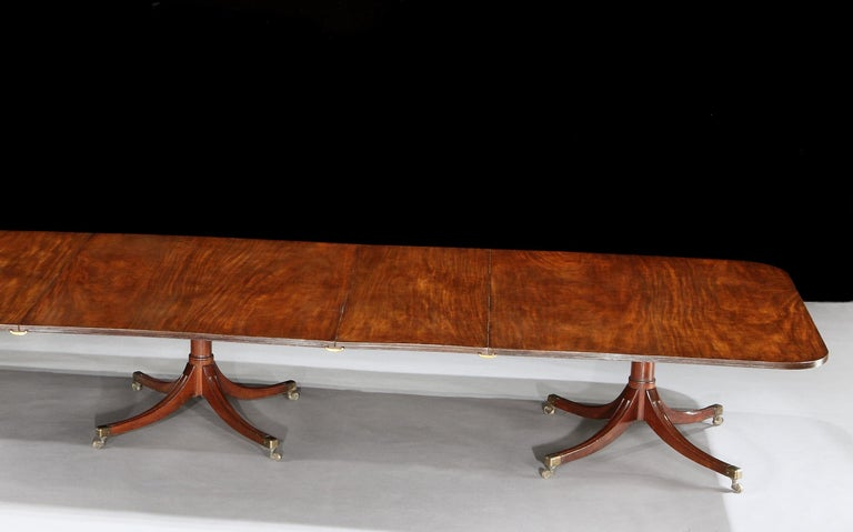 English Brown Mahogany George III Four Pedestal Dining Table For Sale