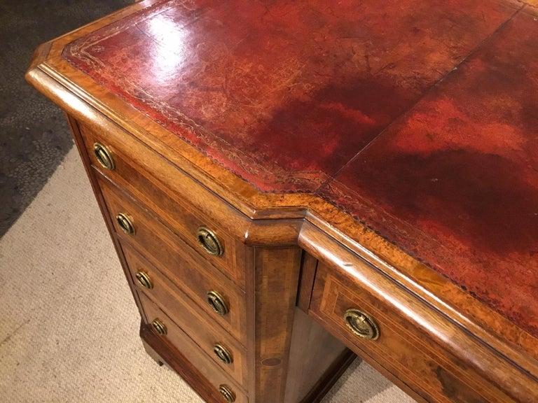 Burr Walnut, Kingwood and Amboyna Victorian Period Antique Writing Desk For Sale 6