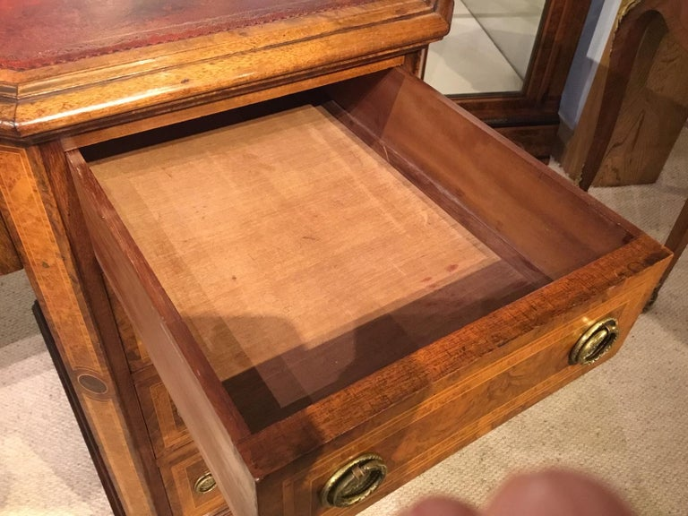 Late 19th Century Burr Walnut, Kingwood and Amboyna Victorian Period Antique Writing Desk For Sale