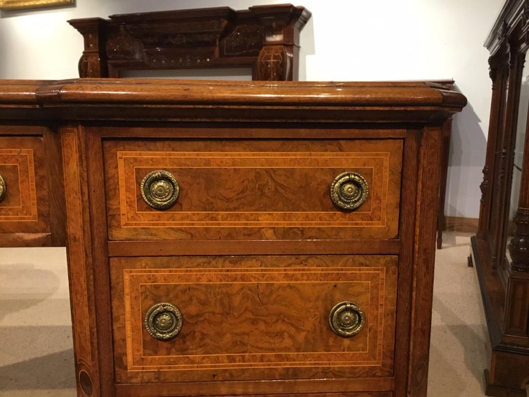 Burr Walnut, Kingwood and Amboyna Victorian Period Antique Writing Desk For Sale 1