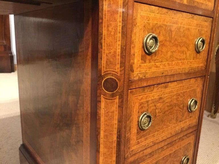 Burr Walnut, Kingwood and Amboyna Victorian Period Antique Writing Desk For Sale 2