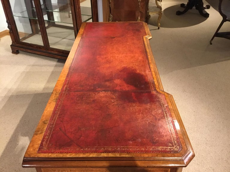 Burr Walnut, Kingwood and Amboyna Victorian Period Antique Writing Desk For Sale 4