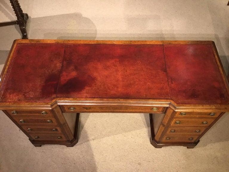 Burr Walnut, Kingwood and Amboyna Victorian Period Antique Writing Desk For Sale 5