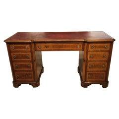 Burr Walnut, Kingwood and Amboyna Victorian Period Antique Writing Desk