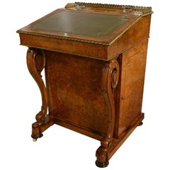 Burr Walnut, Kingwood and Ormolu Victorian Period Davenport