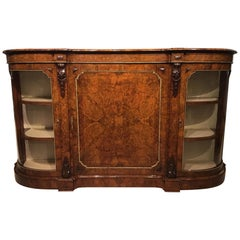 Burr Walnut and Marquetry Inlaid Victorian Period Credenza