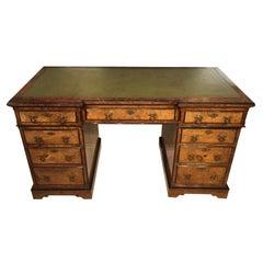 Burr Walnut Victorian Aesthetic Period Antique Desk